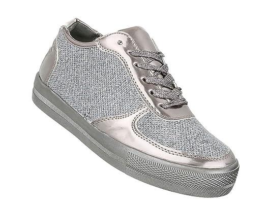 Damen Glitzer Sneakers | Sportschuhe Schnürer |Sneaker Low