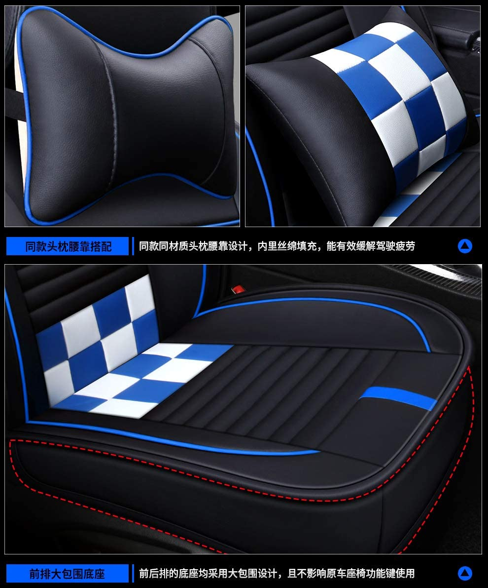 Black-Blue Saienno Custom wear-Resistant Leather Stitching Contrast Car Seat Cushion Covers 5 Seats Full Set Universal Fit.
