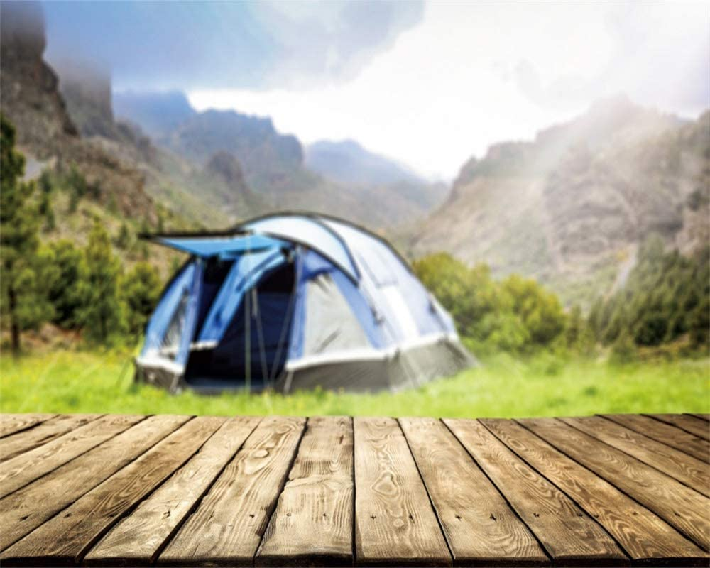 YEELE 10x8ft Outdoor Camping Backdrop Summer Hiking Adventure Theme Photography Background Mountain Camping Pictures Holiday Theme Birthday Party Photobooth Props Digital Wallpaper