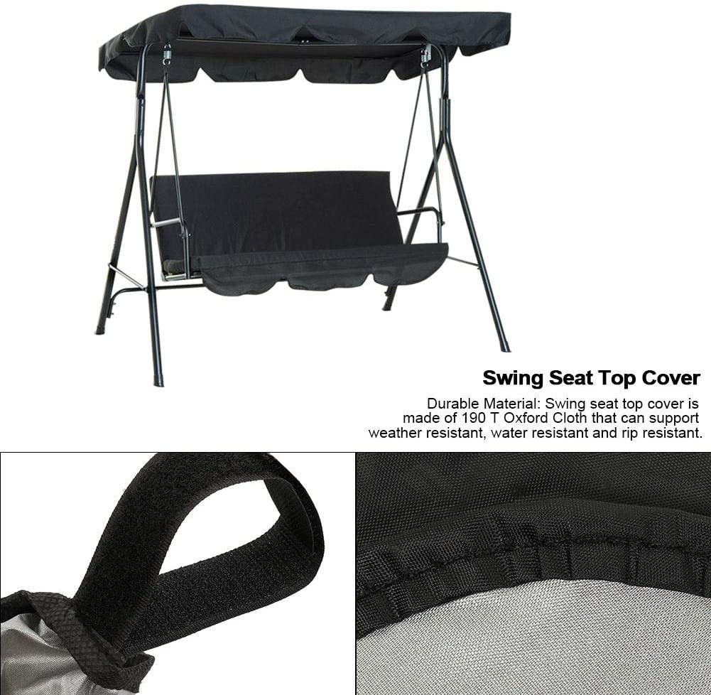 Black Swing Seat Cover Outdoor Furniture Cover Waterproof Garden Swing Seat Top Protector Cover Anti Dust Easy Clean Rainproof Swing Seat Cover