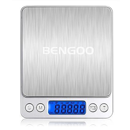 Bengoo Báscula de Cocina Digital Acero Inoxidable, Balanzas Digitales de Alimentos, Peso Digital de