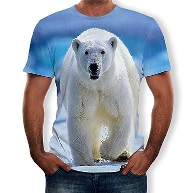 nanzhushangmao Polar Bear 3D Camisetas para Hombre, Divertidas ...