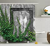 Ambesonne Mystic House Decor Collection, Ivy on Wall with Aged Antique Empty Picture Frame as Window Creative Art, Polyester Fabric Bathroom Shower Curtain, 84 Inches Extra Long, Green Charcoal