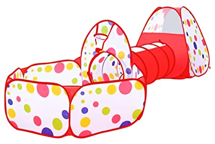 newest bec06 56269 Glonova Kids Play Tent with Tunnel and Ball Pit, 3 in 1 Child Baby  Playhouse Tent