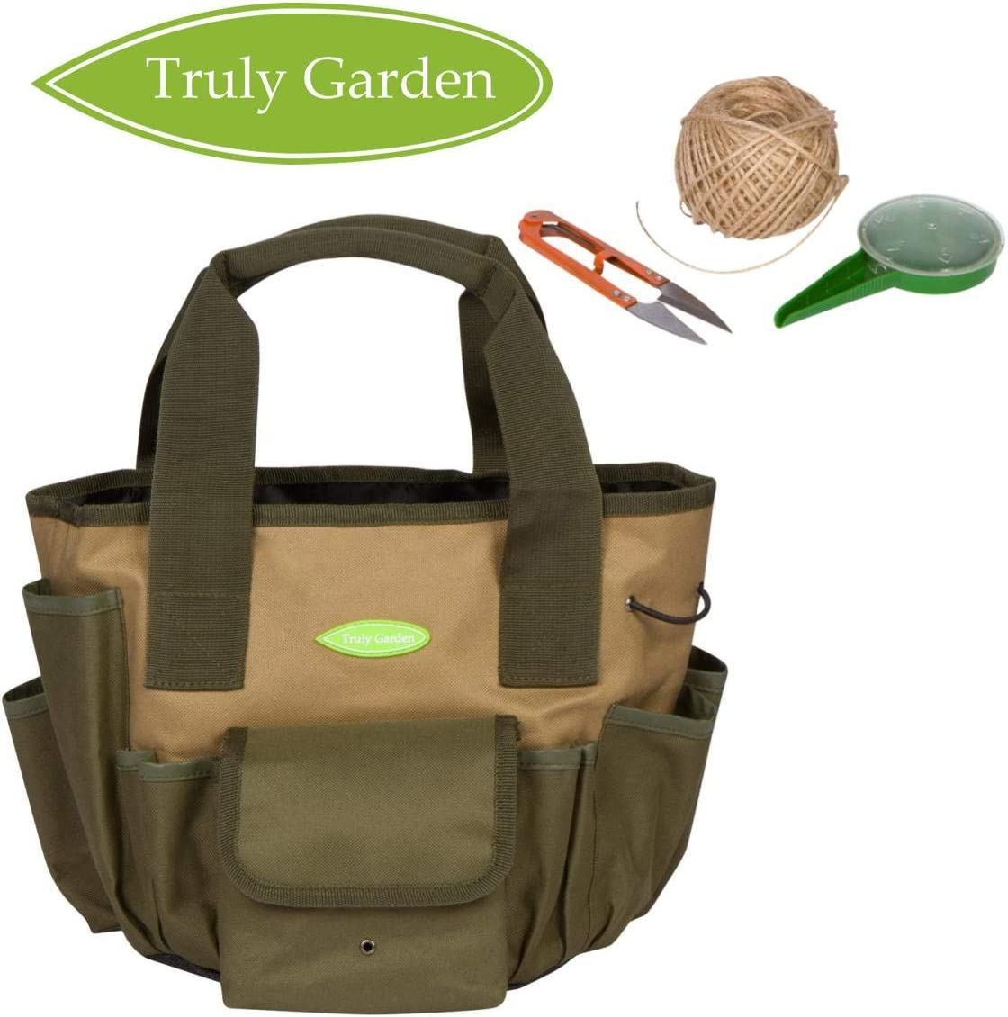Truly Garden Garden Tote and 2 Gallon Bucket Organizer. The perfect Gardening Gift. This organizer comes with twine, a seed dispenser, and scissors.
