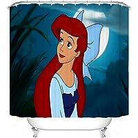 Bfrdollf Cortina de ducha Disney Sirenita Ariel 180 x 200 180 x 180 cm Alfombra de baño, juego de 4 piezas, resistente…