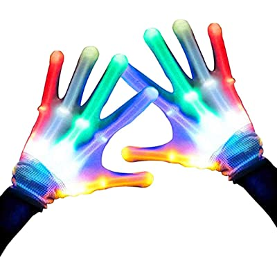 Keyian Toys for 5-12 Year Old Boys, Flashing Led Gloves for Kids Adult Finger Light Up 3 Colors 6 Modes for 5-12 Year Old Girls Boys: Sports & Outdoors