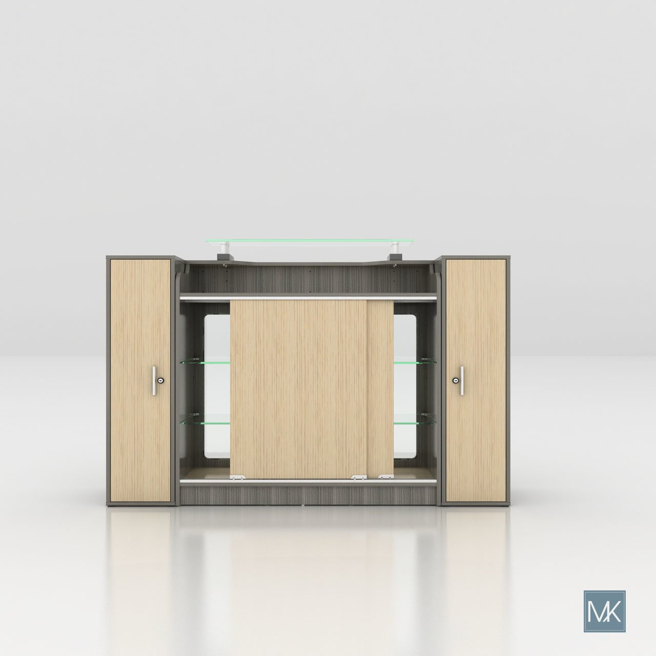 ALERA Reception Table with Glass Display Shelves and Side Cabinets, Ideal for Salon, Office, Counter, Modern Waiting Room Reception Furniture & Equipment by MAYAKOBA (Image #4)