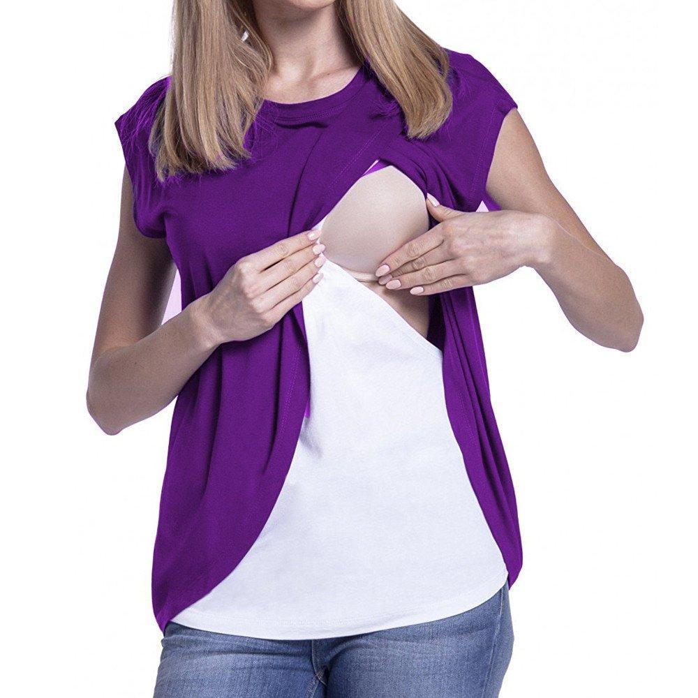 STRIR Camiseta de Mujer Maternidad de Doble Capa, premamá Lactancia Blusa de Manga Corta Blusa Mujer premamá Lactancia Blusa de Manga Corta Blusa Mujer