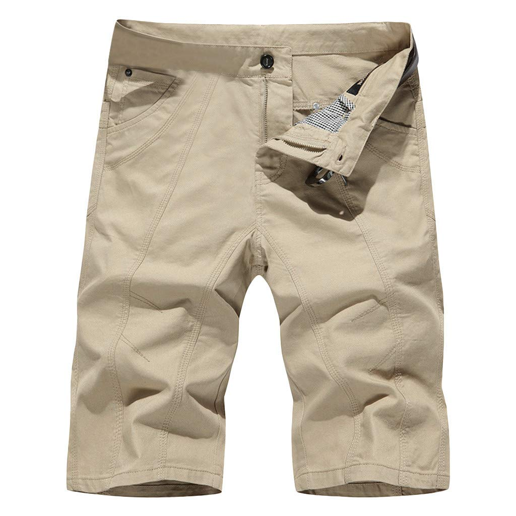 Allywit-Mens Loose Workout Outdoor Athletics Pocket Jeans Cargo Pants Outdoor Tactical Shorts Plus Size Beige by Allywit-Mens