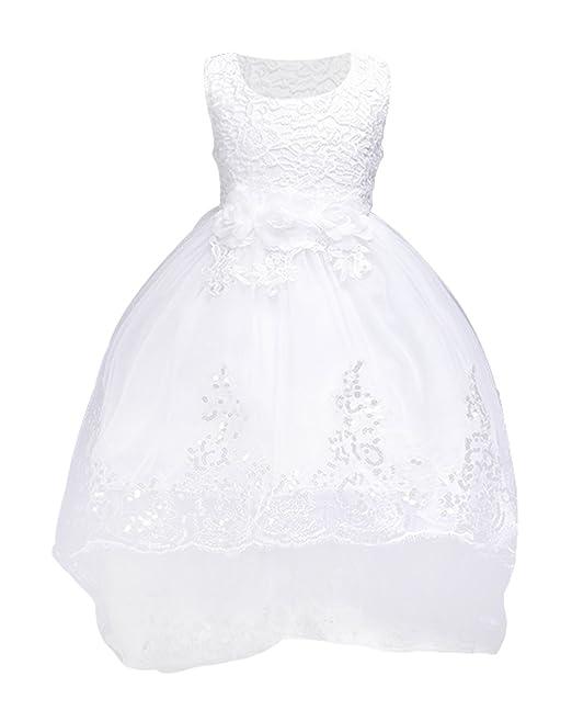La Vogue Vestido de Fiesta Boda con Lentejuelas Lazo para Princesa Niña Blanco Talla 110/