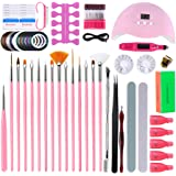 SturdCelleau Nail kit for Beginners, with Shinny Glitter and Sequins, Electric Nail File Machine, 54W LED Nail Lamp, Nail Polish Remover Clips,Acrylic Nail Kit Gift Box Set