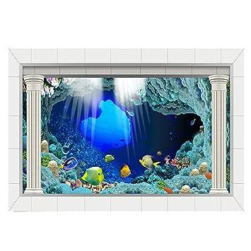 Shuzhen,PVC Impermeable Solo Lado Océano Paisaje Natural Fish Bowl ...