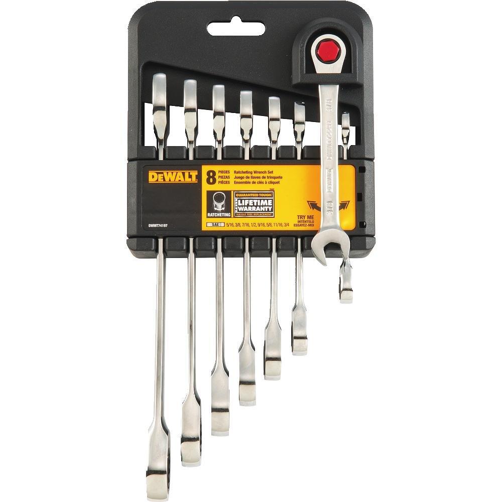 DeWalt DWMT74197 Ratcheting SAE Combination Wrench Set (8 Piece)