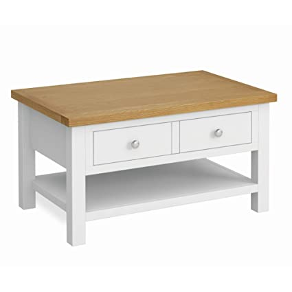 Roseland Furniture Farrow White Coffee Table Painted Living Room Table With Large Drawer