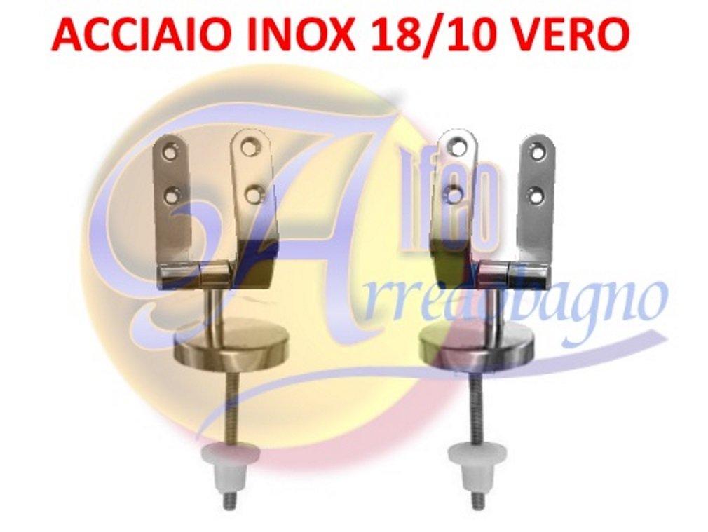 Cerniere coprivaso sedile wc copriwater di ricambio UNIVERSALI in ACCIAIO INOX (COPPIA) POLISEDIL