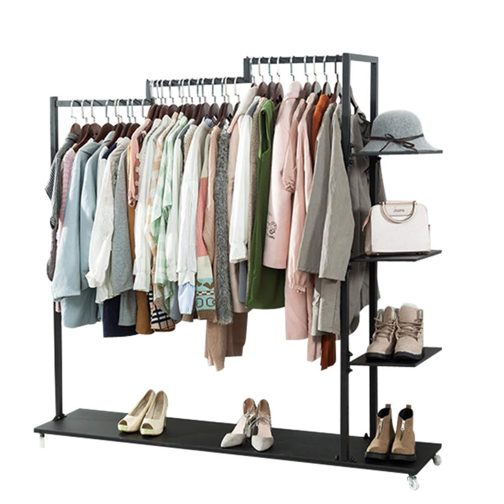 Amazon.com: WYQSZ Wrought Iron Clothes Rack Shelf, Living ...