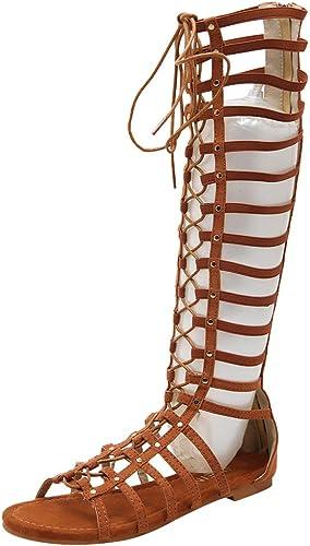Zapatos señora sandalias sandalias gladiador romanos con cordones con tiras