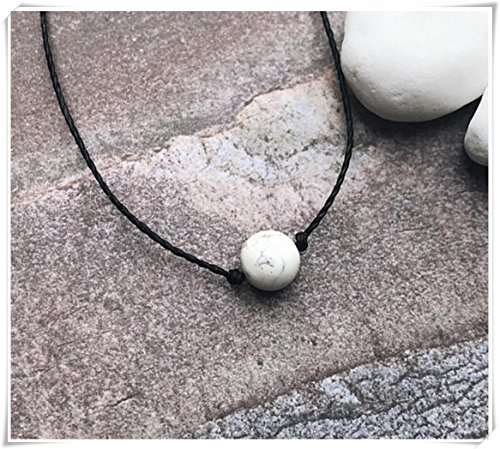 no see long time White Marble Bead Choker. Beaded Choker ,Necklace. Obsidian Stones. Single Bead Choker. Matte White.