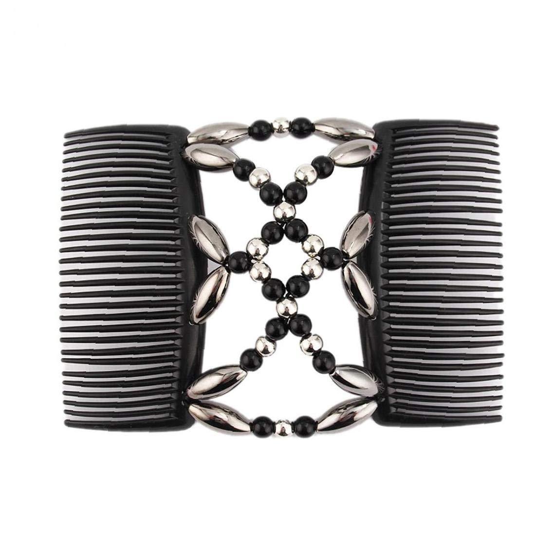 Perlen Haark/ämme Magie elastische Stretchy Doppel Hair Clips Styling Zubeh/ör Schwarz