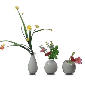 225 & CRH600 3 Mini Little Buddies Ceramic Bud Vases for Flowers Plants Floral Decor Vintage Collectible Vases Vintage Porcelain (White)