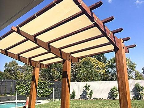 E.Cover Tela de bloqueo solar de trigo con cuerda resistente a los rayos UV para patio/pergola/anopio, 10 x 16 pies: Amazon.es: Jardín
