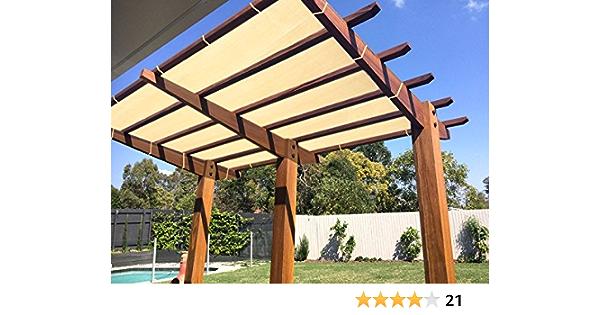 E.Cover Tela de bloqueo solar de trigo con cuerda resistente a los rayos UV para patio/pergola/anopio, 10 x 16 pies