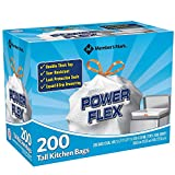 Member's Mark Power Flex Tall Kitchen Simple Fit 13 gal Drawstring Bags 4Pack (200 Bag Each)