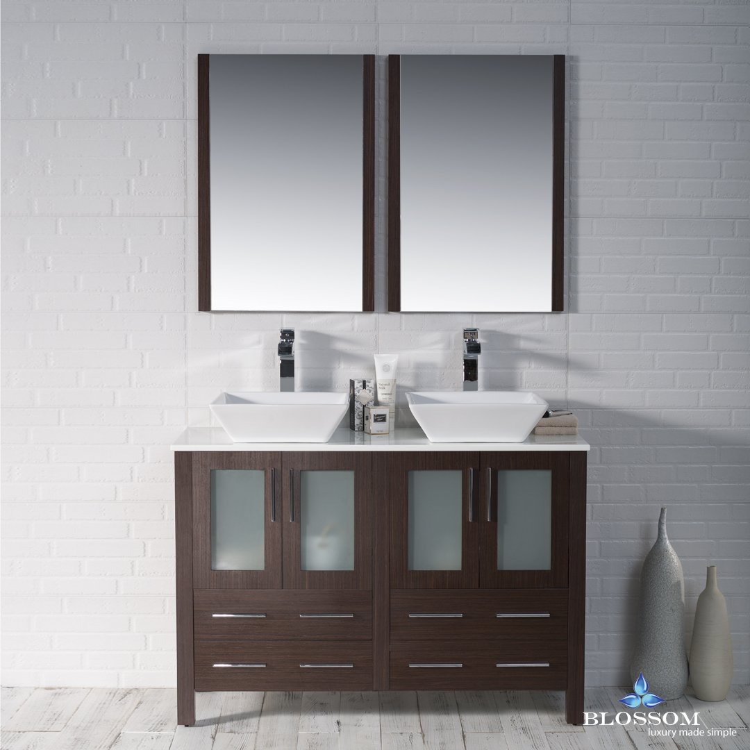 BLOSSOM 001-48-03-D-1616V Sydney 48'' Double Vanity Set with Vessel Sinks and Mirrors Wenge