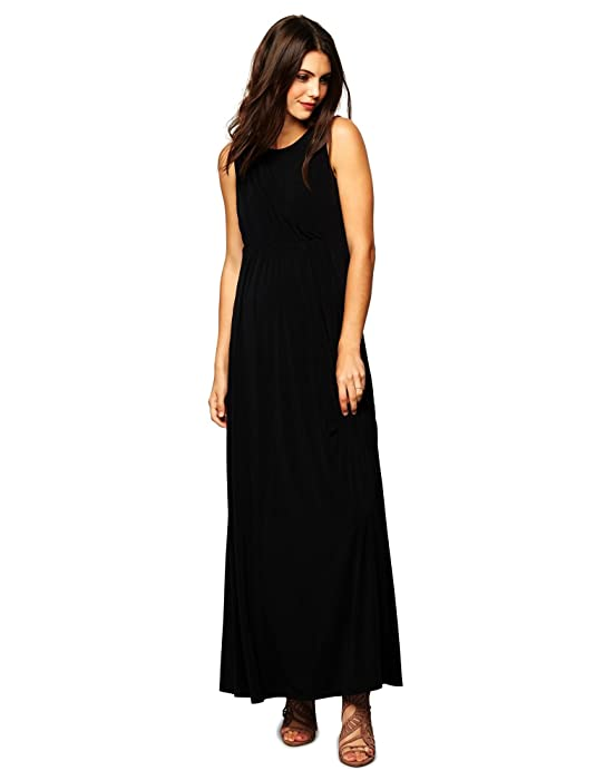 A Pea in the Pod Draped Maternity Gown- Black at Amazon Women\'s ...