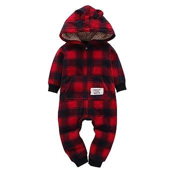 save off 861e8 9fd9b Mingfa - Baby-Winterkleidung für 6-24 Monate, Unisex, Kleinkinder, Jungen,  Mädchen, dick, kariert, mit Kapuze und langen Ärmeln, 6M, wein, 1