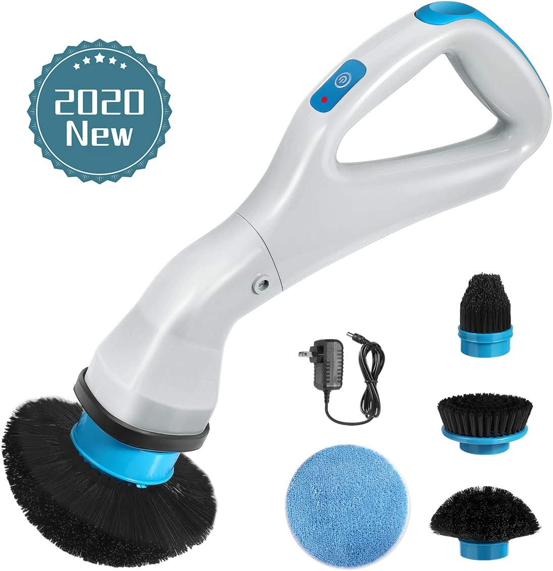 Electric Spin Scrubber, 2020 New Handheld Cleaning Brush Multi-function Cordless Rechargeable 360-Degree Rotation with 4 Replacement Scrubber Heads for Cleaning Sink Tile Floor Window Bathtub