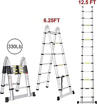 Escalera telescópica de aluminio con bisagras, multiusos, portátil, plegable, de 12.5 pies: Amazon.es: Bricolaje y herramientas