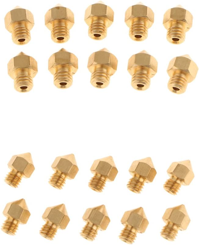 gazechimp 20PCS 0.4MM+0.3MM 3D Printer Extruder Brass Nozzle Print Head for MK8