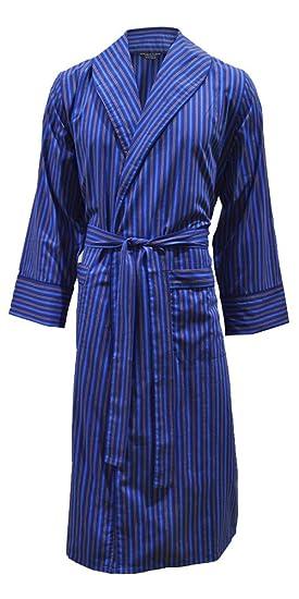 Men\'s Lightweight Cotton Dressing Gown - Blue Stripe: Amazon.co.uk ...