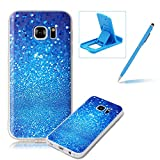 Clear Case for Samsung Galaxy S7 Edge,Soft TPU Cover for Samsung Galaxy S7 Edge,Herzzer Ultra Slim Pretty [Blue Glitters Pattern] Silicone Gel Bumper Flexible Crystal Transparent Skin Protective Case + 1 x Free Blue Cellphone Kickstand + 1 x Free Blue Stylus Pen