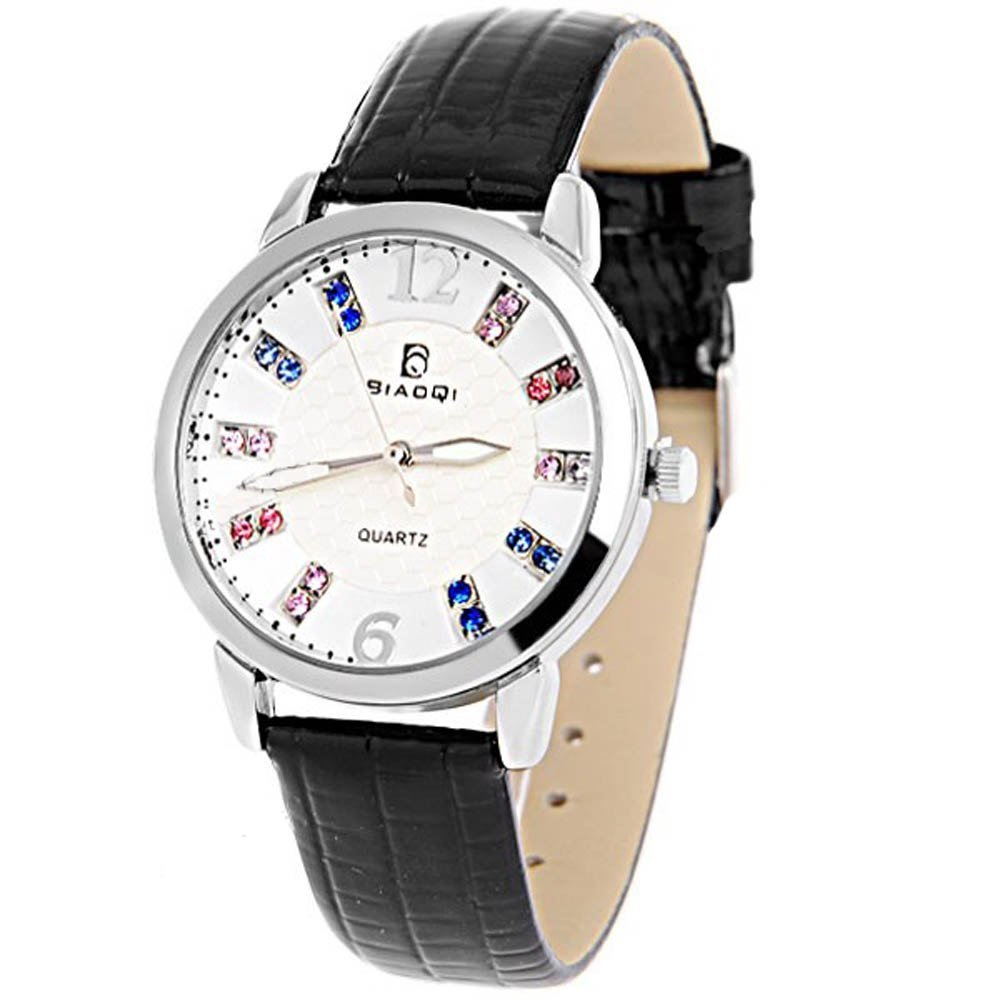 Amazon.com: Chic PU Leather Band Quartz Analog Watch Wrist ...