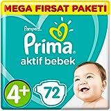 Prima Bebek Bezi Aktif Bebek 4+ Beden Maxi Plus Süper Fırsat Paketi 72 Adet