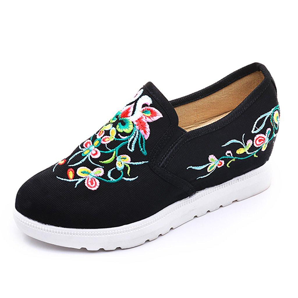 Scarpe da donna folk-custom Old Beijing Scarpe ricamate scarpe di stoffa Aumentare in altezza Scarpe di tela antiscivolo Scarpe da passeggio scarpe sportive Aiuto basso Fondo morbido Scarpe singole  Black