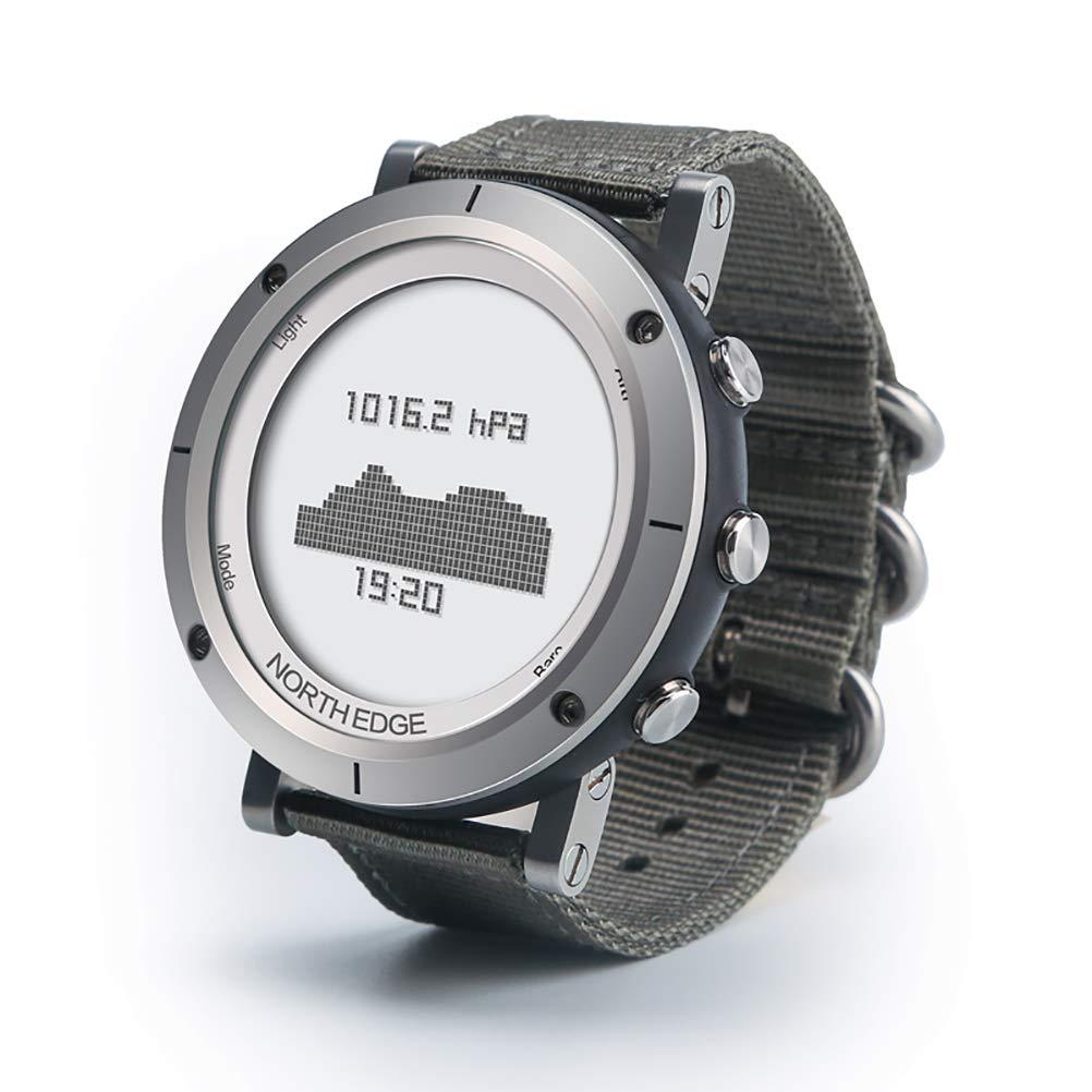 HAJZF New Man Outdoor Sport Digital Smart Watch Waterproof 50m Fishing Altimeter Barometer Thermometer Compass Altitude Hours,Silver