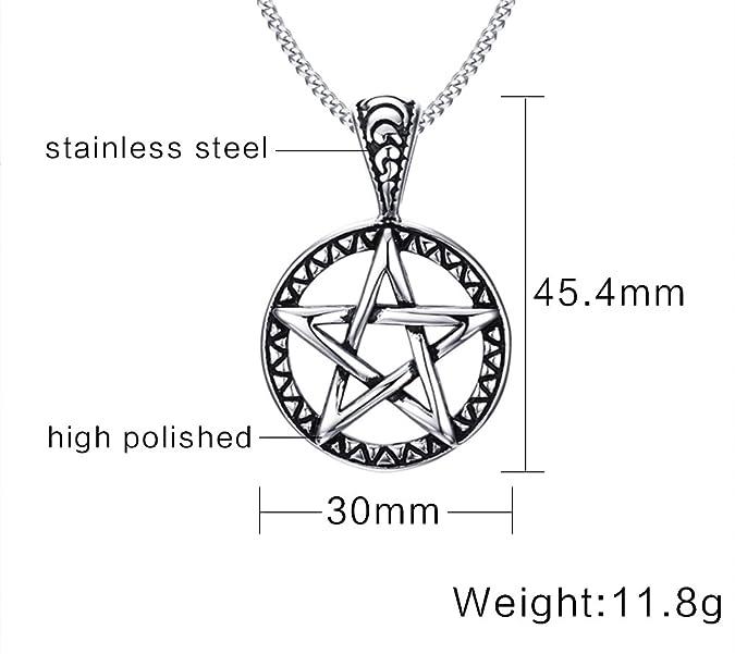 Vnox Pentagram del acero inoxidable de la estrella de la familia Collar pendiente para los hombres Joyería de las mujeres Wiccan: Amazon.es: Joyería