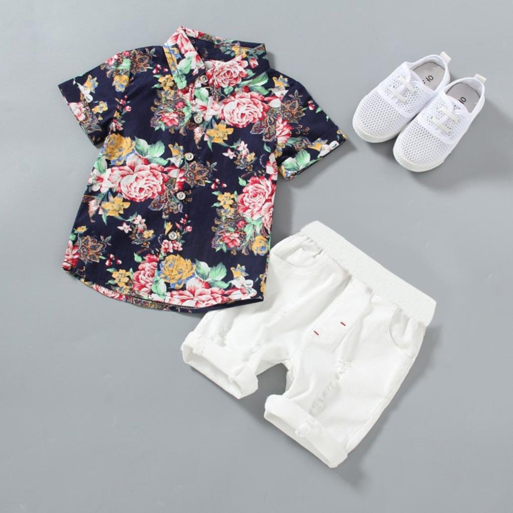 Solid Shorts Outfits Sets Efaster 2Pcs Toddler Baby Boys Flowers Print Shirt