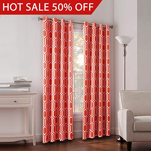 FlamingoP Light Blocking Honeycomb Insulated Blackout Drapes Printed Window  Curtains For Living Room, Grommet Top, Set Of Two Panels, Each 84 By 52   Coral Part 79