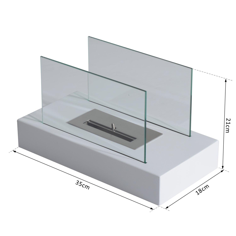 Homcom Chimenea de bioetanol de mesa ecol/ógico 2000/W Cristal Acero 35//× 18//× 21/cm