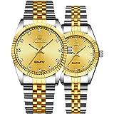 Par de relojes suizos de la marca de oro reloj de los hombres de las mujeres de acero inoxidable impermeable reloj