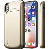 【E-COAST】iPhone X 専用バッテリー内蔵ケース モバイルバッテリーケース 充電ケース 全保護仕様 大容量 5000mAh 超軽量 スタンド機能付 (ゴールド)