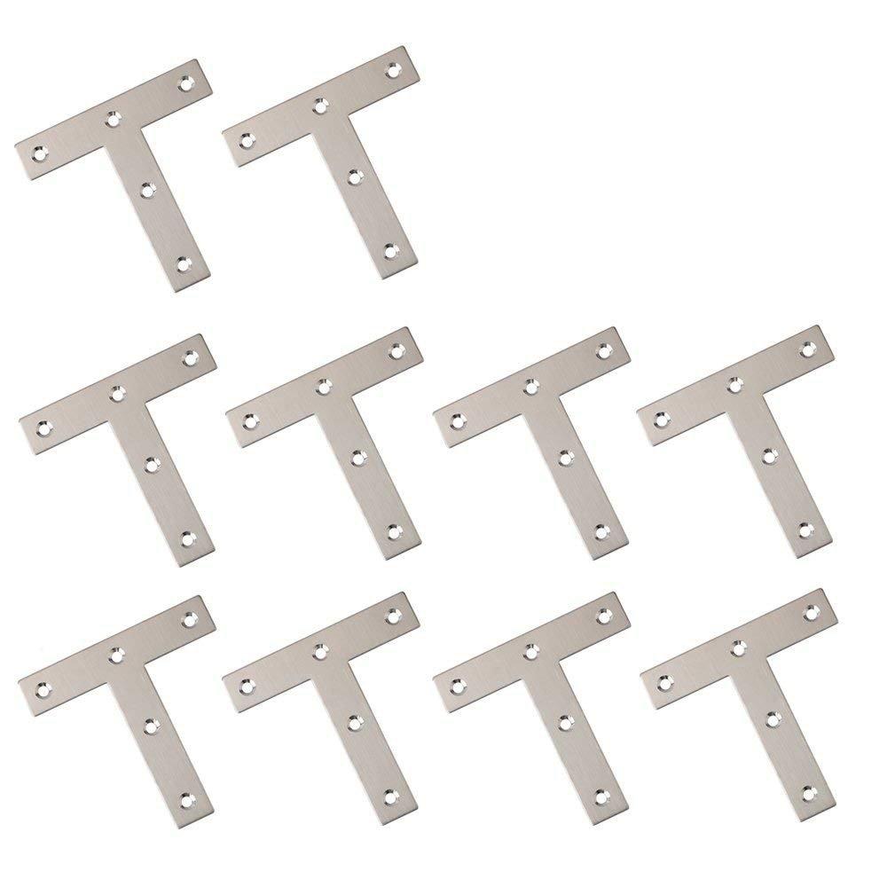 BTMB 10 Pcs Stainless Steel Steel T Shape Flat Repair Mending Plate Joining Bracket Brace 80x80mm 3.1''x3.1''