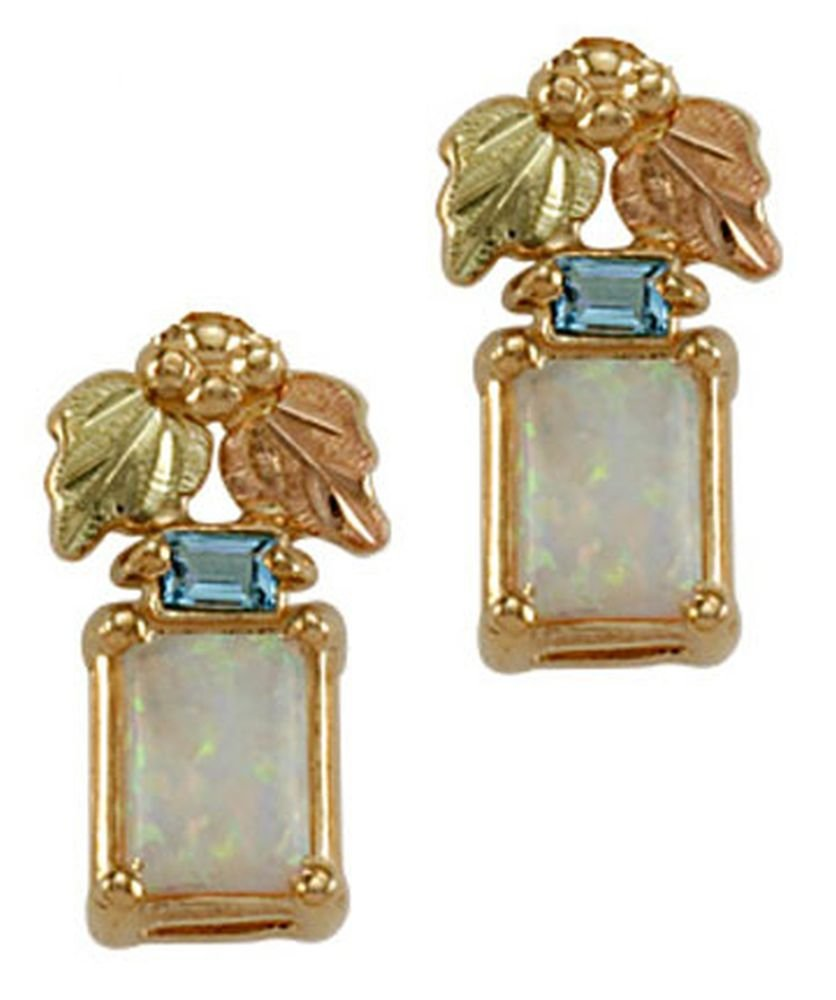 Landstroms 10k Black Hills Gold Earrings with Synthetic Opal and Swiss Blue Topaz - ER3070