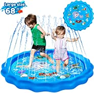 "KingsDragon Splash Pad 68"" Sprinkler for Kids Outside Toys, Sprinkle and Splash Play Mat Kiddie Baby Todd"