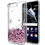 LeYi Case for Huawei P10 with HD Screen Protector, Glitter Liquid Quicksand Flow Luxury Fashion Clear Transparent TPU Gel Silicone Shockproof Cover for Huewei P10 Rose Gold (Pink)